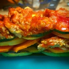 Paleo Ratatouille Lasagna....subbed ground beef for sausage and added red bell peppers as the top layer before sauce.