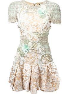 BALMAIN Lace Detail Embellished Dress. #balmain #cloth #dress