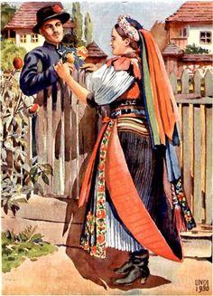 Folk Dance, Czech Republic, Hungary, Austria, Switzerland, Culture, Painting, Costumes, Image