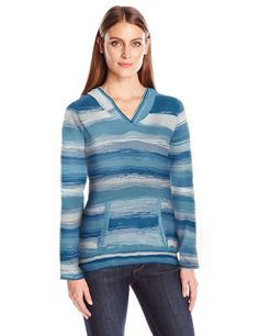 """prAna Women's Daniele Sweater, Dusky Skies, Medium. """"""""Organic space dye sweater yarn. Pullover V-neck hooded silhouette with front kangaroo pocket. Relaxed fit""""""""."""