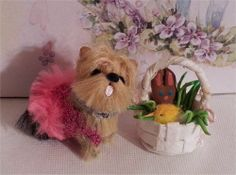 Miniature  Yorkie Dog  with Easter Basket  sculpted and furred OOAK  CTD  #2