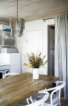 Barnwood table & curtain