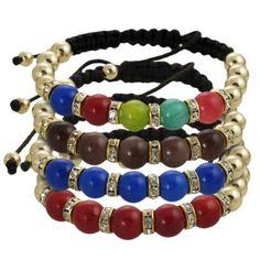 Journee Collection Goldtone Acrylic Bead Rhinestone Shamballa Bracelet (Brown )
