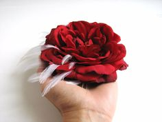 red rose fascinator hair clip christmas holiday wedding large flower white feathers hair piece