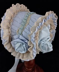"Antique Reproduction Doll Bonnet 13"" or 14"" 