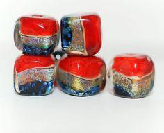 Lampwork BORO glass beads (6), borosilicate glass beads, handmade borosilicate lampwork glass beads, poppy red, black blue. borosilicate SRA by Juliyamrboro on Etsy