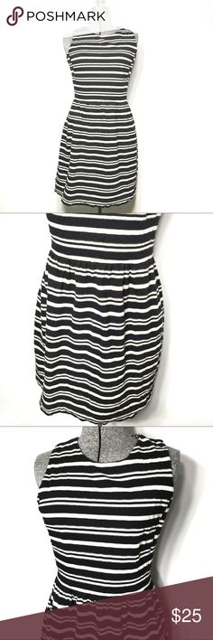 J. Crew Textured Black Cream Striped Dress Amazing shape and texture in this J. Crew dress. Cream and black striped fabric delight with a lightly pleated waste line. J. Crew Dresses