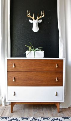 Love this style of dresser /// painted mid century modern dresser/ painted chest/ painted nightstand/ broyhill Upcycled Furniture, Shabby Chic Furniture, Painted Furniture, Diy Furniture, Furniture Stores, Furniture Outlet, Furniture Design, Furniture Online, Kitchen Furniture