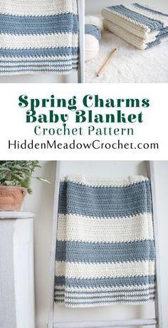 Spring Charms Baby Blanket Crochet Pattern by HiddenMeadowCrochet.com