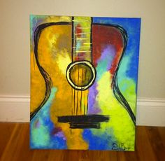 Guitar painting. Original work by Emily Brogdon. Silhouette of a passion by AuntieEmNashville on Etsy, $45.00