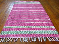 Must have handmade Rag Rug Hot Pink Green Yellow Handwoven by MirandasLoom on Etsy, $75.00