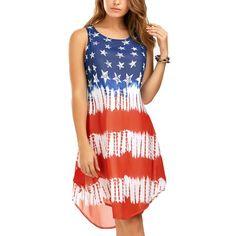 2017 Fashion Women Usa National Flag Printed Sleeveless Short Dress Hx