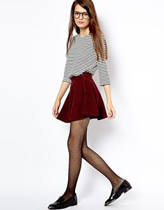 stripe shirt, burgundy velvet skirt, dotted tights, patent leather shoes