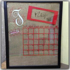 Use our Float frames and burlap coffee sacks to make your own dry erase calender like this.  Call 1-800-869-3395 to get your supplies or visit http://shop.tmigifts.com/burlap-coffee-sacks-assorted-styles-sizes-and-shades-coffeesack/dp/7205