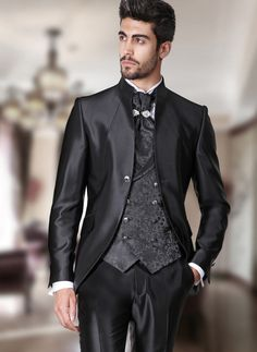 Rocchini's groom formal suits - Rocchini Collection groom suits and formal suits Black Suit Wedding, Tuxedo Wedding, Wedding Suits, Costume Homme Baroque, Outfits Casual, Mode Outfits, Groom Tuxedo, Groom Suits, Groomsmen