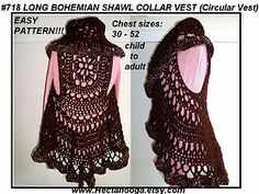 Crochet Pattern, Bohemian Circle Shrug on ravelry http://www.ravelry.com/patterns/library/718-bohemian-crochet-vest-long-or-short-child-and-adult