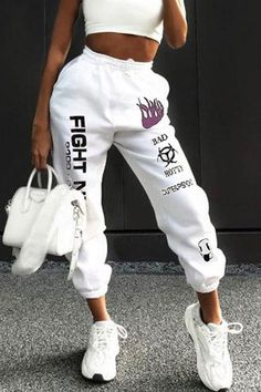 Letter Print Drawstring Joggers – Chicmony Tomboy Fashion, Teen Fashion Outfits, Fashion Pants, Outfits For Teens, Streetwear Fashion, Cute Comfy Outfits, Sporty Outfits, Mode Outfits, Trendy Outfits