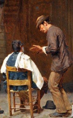 Pio Joris (Italian, 1843-1921), 'I barbieri di Roma', Detail 2