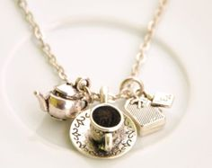 buy 1 get 1 free - teapot necklace - alice in wonderland necklace - tea cup necklace - tea bag necklace - tea pot - silver necklace
