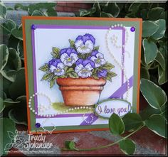 True's Gift's From the Heart:   I created this card for an Inky Antics blog hop with products from Want2Scrap, Discount Card Stock, Really Reasonable Ribbon and of course Inky Antics. Pansy