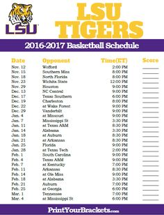LSU Tigers 2016-2017 College Basketball Schedule