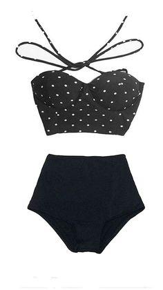 Black Polka dot dots Top and High-waist High Waisted Waist Highwaist Rise Shorts Bottom Bikini Swimsuit Swimwear Swim Bathing suit suits S M by venderstore on Etsy