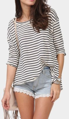 Yahting Stripe Top Love the lace trim shorts!