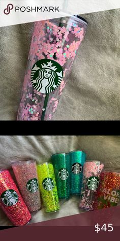 Diy Tumblers, Glitter Tumblers, Glitter Cups, Personalized Tumblers, Custom Tumblers, Custom Starbucks Cup, Pink Starbucks, Cup Crafts, Easy Crafts