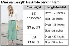 Find your perfect hem length. Use this guide to know what length dress or skirt you will need.
