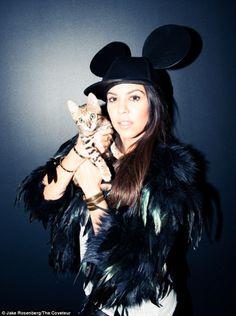 Kourtney Kardashian with her kitty Charli. via dailymail.co.uk