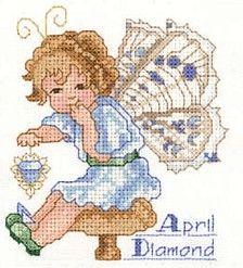 Toddler Birthstone Fairy April Diamond Cross Stitch Pattern 1/5