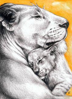 lioness hugging a cub