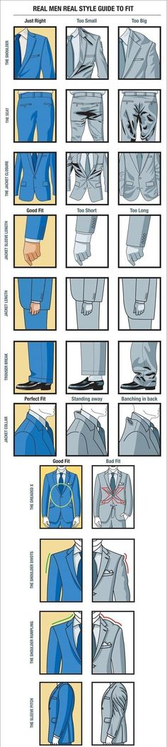 Real Style Guide To Fit Style Guide for Men Visual-Suit-Fit-Guide-for-Real--And, dang it, looks like my vintage blazers are too small.Style Guide for Men Visual-Suit-Fit-Guide-for-Real--And, dang it, looks like my vintage blazers are too small. Real Men Real Style, Real Man, Sharp Dressed Man, Well Dressed Men, Suit Fit Guide, Mode Man, Style Masculin, Men Style Tips, Men Tips