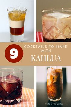 Kahlua is a coffee liqueur that features in lots of famous cocktails – the Black Russian and the White Russian are two of the most famous. Here are 9 cocktail recipes for Kahlua including famous ones and unusual combinations! Kahlua Drinks, Bourbon Cocktails, Champagne Cocktail, Coffee Drinks, Cocktail Drinks, Alcoholic Drinks, Raspberry Mojito, Watermelon Lemonade, White Russian