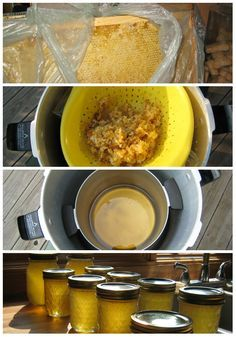Harvesting honey the crush and strain method. Two full frames yielded the jars at the bottom. Photos only.
