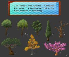 Drawn Game Tree Sprites by cgelewski