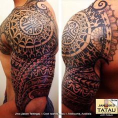 olored polynesian tattoo | Polynesian Half Sleeve Tattoo 255