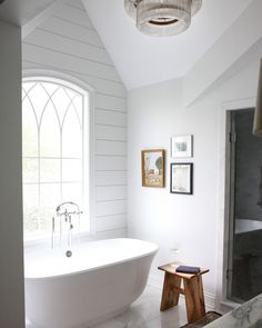 Stunning cottage bathroom fitted with white marble floor tiles features a… Bad Inspiration, Bathroom Inspiration, Bathroom Inspo, Design Bathroom, Interior Inspiration, Small Bathroom, Master Bathroom, White Bathroom, Bathroom Storage