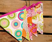 9' Summer, Spring, Birthday Party Bunting Banner, Photo Prop, Girl Decor, Bunting Flags, Pink, Green, Orange, Yellow,  Turquoise. $36.00, via Etsy.