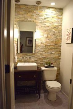 By Desert Quartz Stone Tile From Lowes Half Bath Powder Room