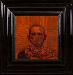 Men in Orange  - Encre et Acrylique sous Perspex - 53 x 53 cm (hors cadre)