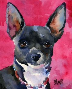 chihuahua watercolor etsy - Google Search