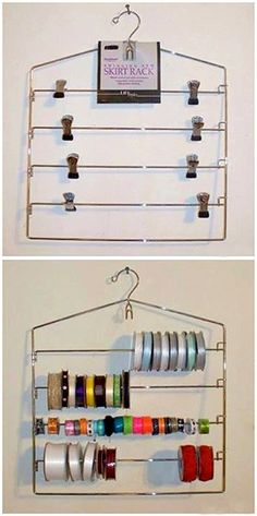 Organized Ribbon Storage Use a swinging arm skirt rack to store your ribbon! Just take the clips off swing the arms open and put your ribbon on. & Organize Your Craft Roomu20138 Quick DIY Projects - EverythingEtsy.com ...