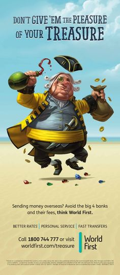 """Pirates of the High Fees"" Campaign for WorldFirst Bank on Behance Pirate Art, Pirate Life, Pirate Theme, Character Inspiration, Character Art, Character Design, Cartoon Drawings, Cool Drawings, Pirate Cartoon"
