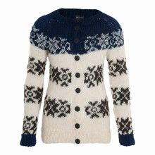 Cardigan traditional w blue and silver by Gudrun og Gudrun