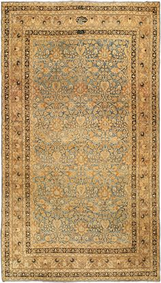 Persian rugs: Persian rug (antique) rug in blue gold color, oriental rug, oriental pattern for modern, elegant interior decor, rug in living room #rug #persianrug
