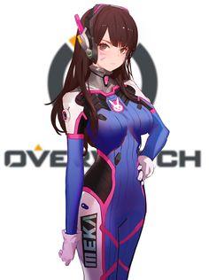 D.Va - More at https://pinterest.com/supergirlsart/ #diva #dva #overwatch #fanart #anime #cute #bodysuit