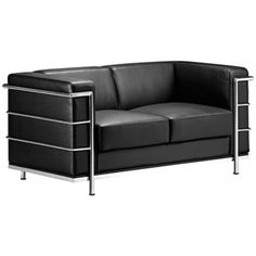 Shop By Brand :: ZUO MOD :: Zuo Black Leather Glamour Loveseat - Bachelor Furniture: Bar Furniture, Dorm Furniture, Apartment Furniture Wicker Furniture Cushions, Dorm Furniture, Apartment Furniture, Luxury Furniture, Black Furniture, Mid Century Modern Couch, Leather Loveseat, Black Loveseat