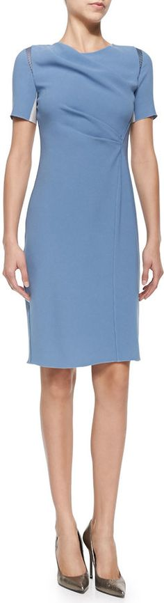 Elie Tahari Amymarie Short-Sleeve Dress W/ Side Pleat