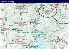 Lamar Valley, Yellowstone National Park Map